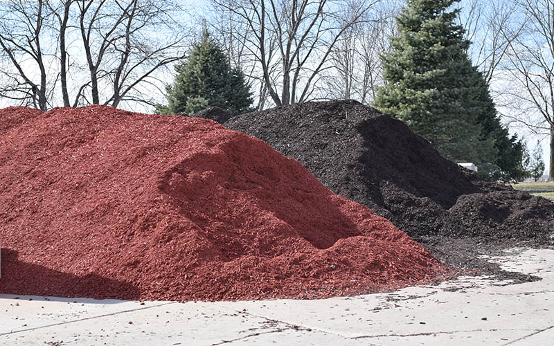 bulk mulch, sand and rock